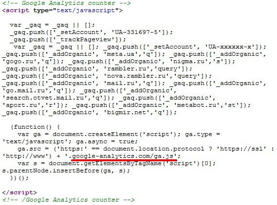 Код классического Google Analytics