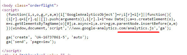 Код Universal Analytics